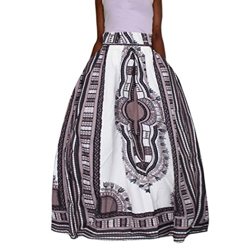 Aurorax Women's High Waisted Skirt Belted Maxi Skirt With Pockets,Pleated A Line Thin Skirt Boho Ankara Dashiki Print Chiffon Maxi Skirt (White, 2XL) (Pencil Ruched Back Skirt)