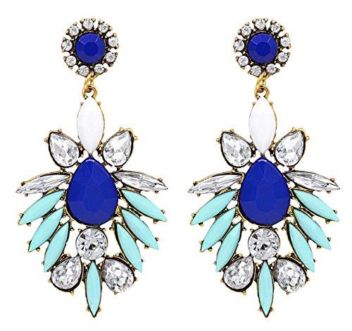 Marquise Crystal Gold Earrings - Hanloud Multi Color Long Teardrop Crystal Earrings Sapphire Marquise Crystal Chandelier Dangle Earrings for Women