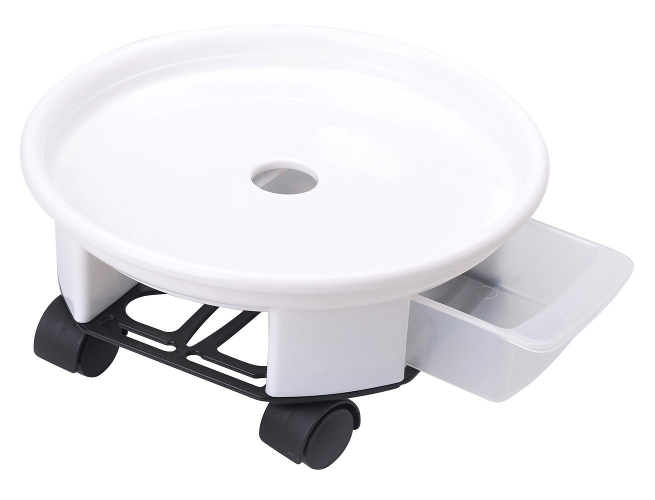 Antetok 10.6'' Plant Caddy Round Plant Dolly Trolley Saucer Moving Tray Pallet with Wheels and a Water Container White