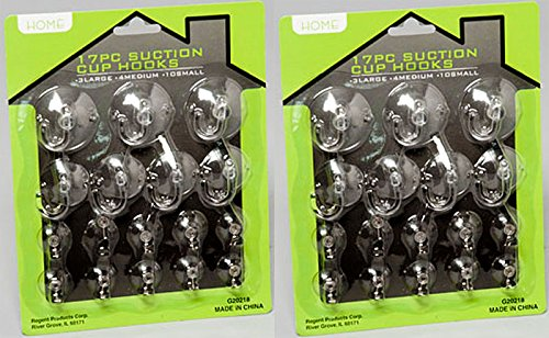 (Suction Cup Hooks (34 Pieces) Clear Silicon with Metal and Plastic Hooks by Regent Products Corp)
