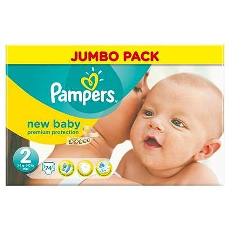 Pampers New Baby - Pañales, talla 2, paquete grande, 74 unidades por paquete