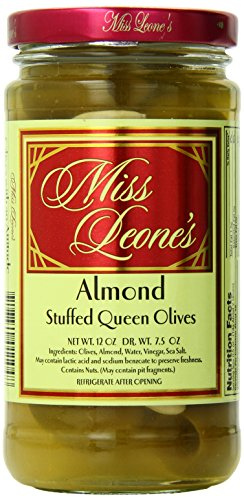 Miss Leone's Stuffed Queen Olives, Almonds, Garlic Almond, Hickory Almond, 12-Ounce Jars (Pack of 3)