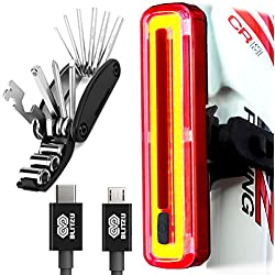 BLITZU Cyborg 180T Bike Light ULTRA BRIGHT USB Rechargeable Bicycle Tail Light. REPAIR MULTITOOL KIT INCLUDED RED Rear LED Accessories for Road Bikes Helmets. Easy To install Cycling Safety Flashlight