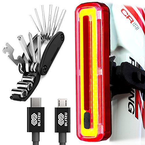 Price comparison product image BLITZU Cyborg 180T Bike Light ULTRA BRIGHT USB Rechargeable Bicycle Tail Light. REPAIR MULTITOOL KIT INCLUDED RED Rear LED Accessories for Road Bikes Helmets. Easy To install Cycling Safety Flashlight