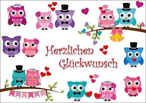 Lustige Eulen Gluckwunschkarte 10647 Zur Hochzeit Hochzeitstag