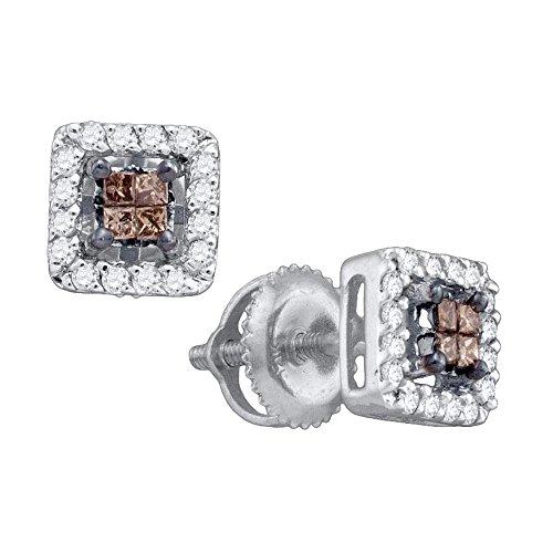 14k White Gold Cognac-brown Princess Cut Diamond Stud Square Screwback Earrings (1/3 Cttw)