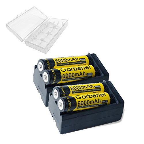Garberiel 4pcs 18650 Rechargeable Batteries 6000mah 3.7V Li-ion Rechargeable For Led Torch with 2 x Smart Charger (NOT AA Battery)
