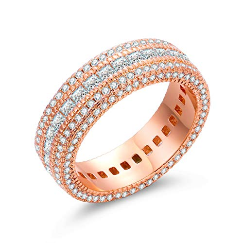 Barzel 18k Gold, Rose Gold or White Gold Plated 5 Rows Cubic Zirconia Wide Band Statement Cocktail Eternity Band Ring Jewelry (Rose Gold, 7)