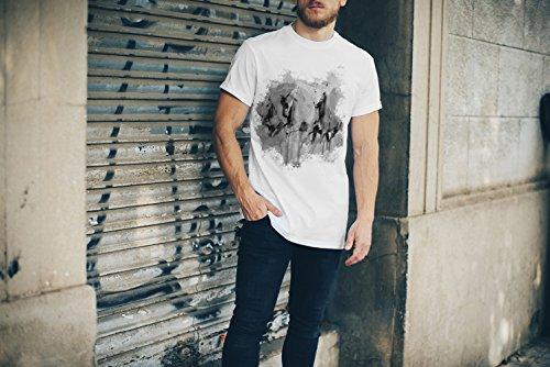 White Horses T-Shirt Herren, weiß mit Aufdruck
