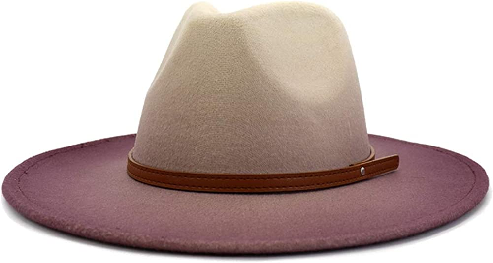 Lisianthus Womens Wide Brim Fedora Jazz Hat Gradient Color
