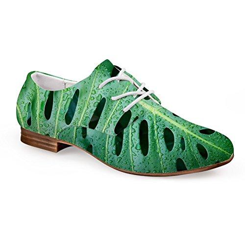 Lacets Plats En Cuir Occasionnels Oxford Appartements Mode Vert Impression Chaussures Vert