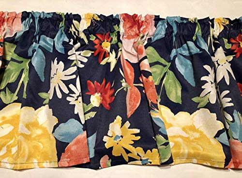 (Navy Blue Tropical Floral Cotton Valance Sale Cotton Window Curtain Treatment 60