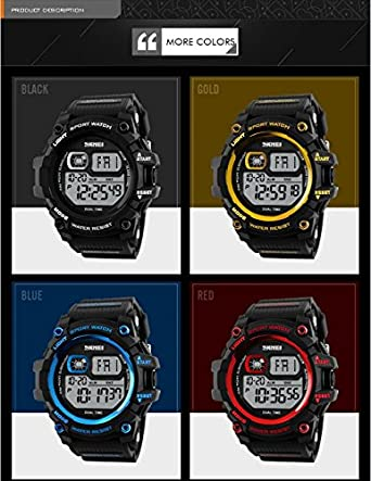 Amazon.com: Mastop Brand Mens Digital Watches Big Dial Multifunction Chronograph Outdoor Waterproof Sport Wrist Watch (Red): Watches