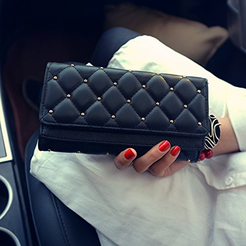 VRLEGEND New Arrival Elegant Lady Women Clutch Trifold Leather Long Wallet Travel Long Purse Card Holder Purse Large Capaicty (VR001, Black)
