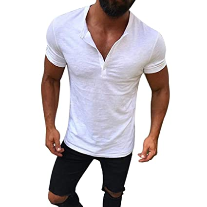 72924eb48 Image Unavailable. Image not available for. Color: TRENTON Men T-Shirts,  Solid Color Breathable Summer T-Shirt Short Sleeve Buttons