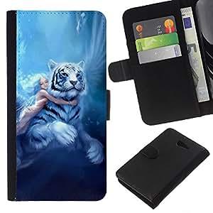 Be-Star la tarjeta de Crédito Slots PU Funda de cuero Monedero caso cubierta de piel Sony Xperia M2 ( Fairytale Big Tiger Girl Wings Blue Hair )