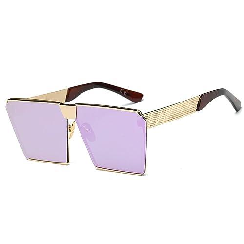 amztm cuadrado efecto Espejo reflectante lente polarizada Gafas de sol de gran tamaño para las mujeres