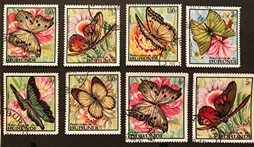 Collectible Postage Stamps of BURUNDI - Native Butterflies/Papillon - Set of 8 from 1968 - Corner Cancelled, Very Fine