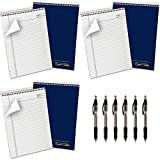AMPAD Gold Fibre Project Planner, Top-Wire Bound, 8-1/2'' x 11-3/4'', Project Rule, Navy Cover, 70 Sheets (20-815) 6 Count with Black inc Pen 6 Count