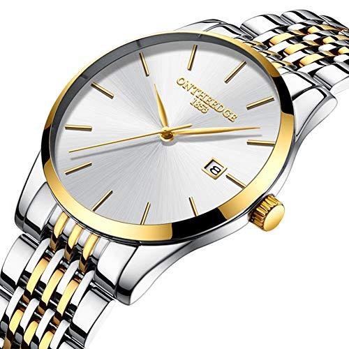 Ocamo Men Thin Fine Steel Band Quartz Movement Calendar Watch White dial Gold Band