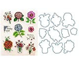 WYSE Cutting Dies and Stamp Set Flower for Scrapbooking Card Making (Flower)