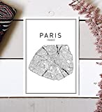 Paris Map Print, Paris Map, Map Art, Map of Paris, City Map Wall Art, Paris Map Art, France City, France Map Print, City Map, Map Wall Art, France Wall Art, Modern Art Print, Black Wall Print, 8x10