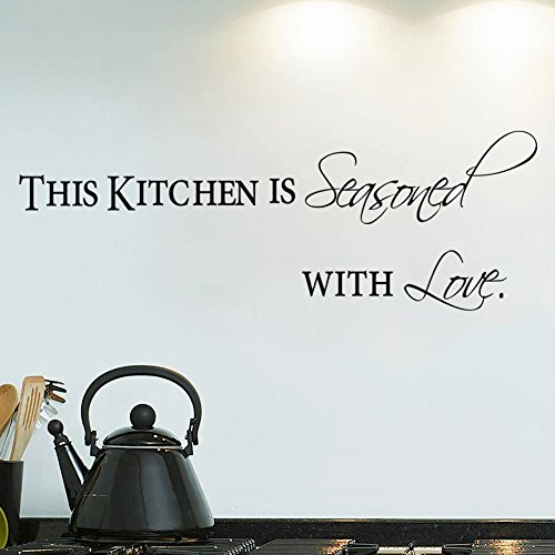 Witkey 5.1*38.5 Inch This Kitchen Is Seasoned with Love Dining Room Home Decor Decals Wall Sticker Art Quotes and Saying Removable DIY Mural Living Room Bedroom (Wall Decors For Dining Room)