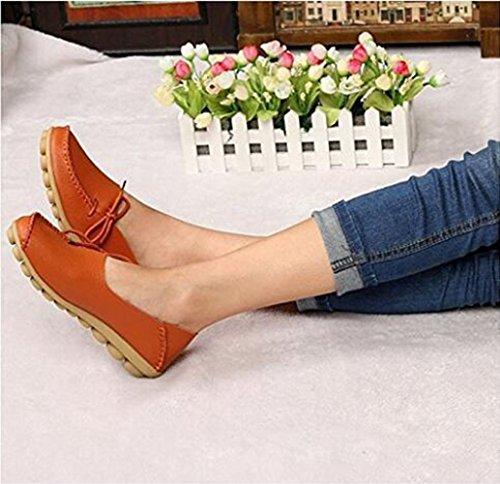 Damesschoenen Voor Dames Koeienhuid Casual Veterschoenen Met Veterschoen Platte Schoenen Oranje