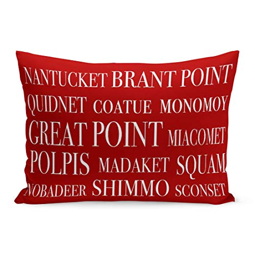 Aikul Throw Pillow Covers Travel Nantucket Places Nautical Red Location Destination Town Letters Pillow Case Cushion Cover Lumbar Pillowcase Decoration for Couch Sofa Bed Car,20 x 36 inchs