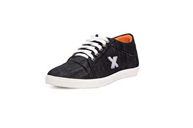 046a61f5c57667 Messi men s black denim casual shoes-9  Buy Online at Low Prices in India -  Amazon.in
