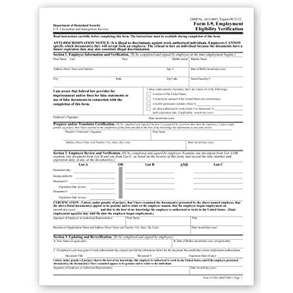 form i-9 employment eligibility verification  Amazon.com : I 12 Employment Eligibility Verification ...