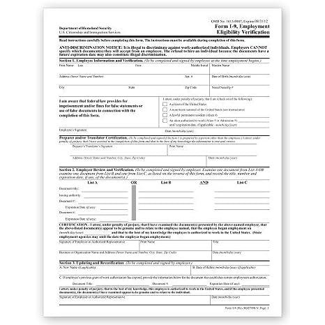 Amazon.com : I 10 Employment Eligibility Verification- Print ...