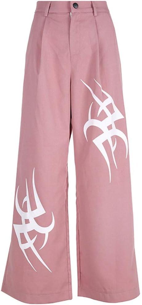 Woman Wide Leg Pant Black Flame Printed Zipper Button Pant S-L Casual Pants