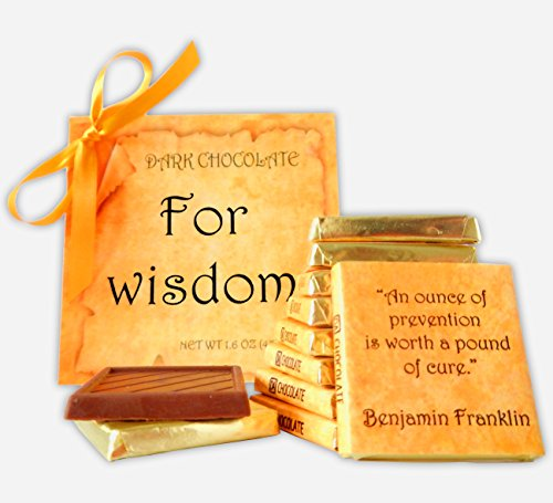 DA CHOCOLATE Cute Candy FOR WISDOM ♛ Dark Chocolate Gift Set ♛ 9 pieces of chocolate 5x5in 1 box - Tokens Online Gift