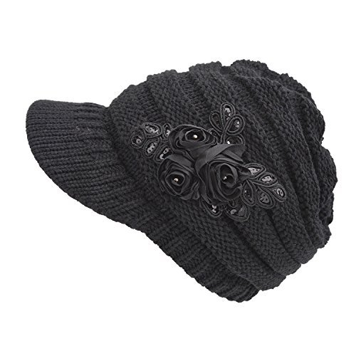 Women's Cable Knit Visor Hat with Flower Accent Black Color