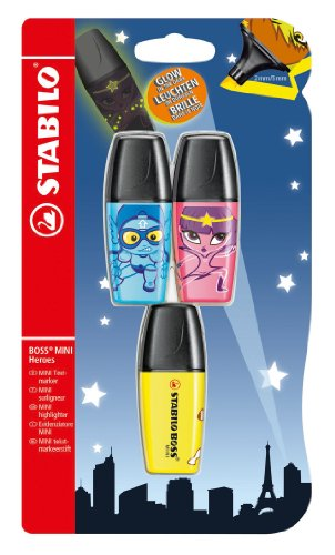 STABILO BOSS MINI Heroes 3er Blister gelb, pink, blau - Textmarker