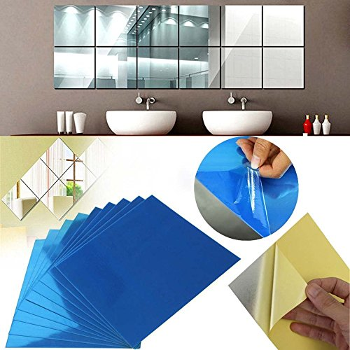 9pcs Square Mirror Tile Wall Stickers Removable Decal - 4
