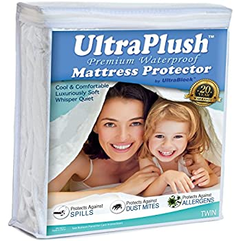 UltraPlush Premium Twin Size Waterproof Mattress Protector - Super Soft Quiet Cover