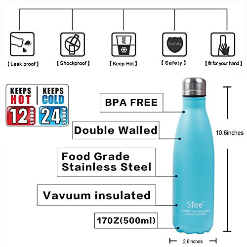 Sfee 17oz Double Wall Vacuum Insulated Stainless Steel Water Bottle&Cup- Pefect Metal,Keep Hot&Cool,Leak Proof,Camping,Tennis,Runner,Bike,Sports Water Bottles + Protective Carry Bag (Aqua Blue)