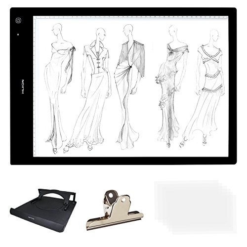 Huion 24 A3 Size Lightness Adjustable Built-in Battery USB Cable LED Portable Drawing Tracing Stencil Board Tattoo Light Box with Kenting Stander,Clip,6 Pieces of Tracing Paper,Cleaning Cloth-LB3H