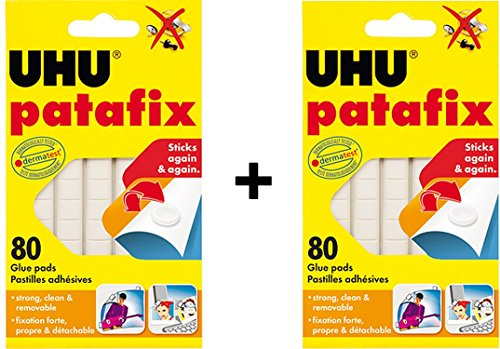 UHU Patafix Glue Pad Removable Reusable White 80 pads (2xPack) by Uho