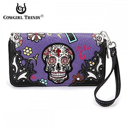 (Cowgirl Trendy Western Purse Sugar Skull, Cross Clutch Wallet Day of the Dead Wristlet (Purple))