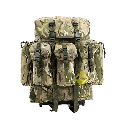 Akmax.cn Military Surplus Rucksack Alice Pack,Army Survival Combat Field A.L.I.C.E. Backpack with Suspender Strap and Frame 600D Polyester Waterproof Multicam