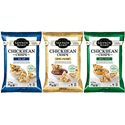 Saffron Road Gluten Free Chickbean Crisps 3 Flavor Variety Bundle, (1) Each: Sea Salt, White Cheddar, Ranch (3.5 Ounces)