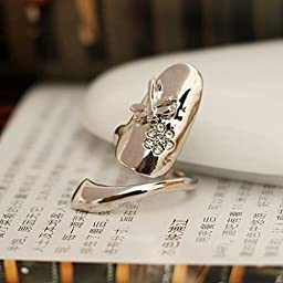 1pcs Stylish Dragonfly Flower Shiny Rhinestone Finger Tip Nail Ring Silver
