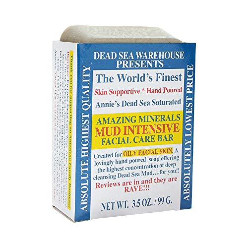 Dead Sea Warehouse - Amazing Minerals Mud Intensive Facial Care Bar, Hand Poured with the Highest Concentration of Deep Cleansing Dead Sea Mud (3.5 Ounces)