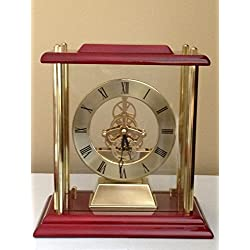 RX-789 Shelf Clock Large Gold Mantle With Skelton Movement Engraved