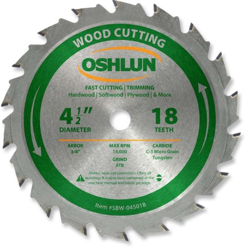 Oshlun SBW-045018 4-1/2-Inch 18 Tooth ATB Fast Cutting and Trimming Saw Blade with 3/8-Inch Arbor ()
