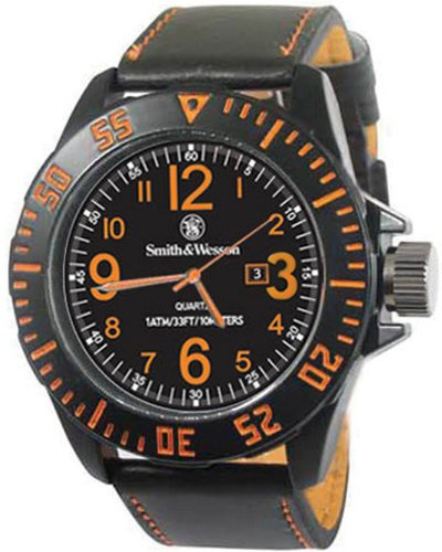 Smith & Wesson SWW-LW6058 EGO Series Watch with Leather Strap, Black