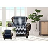1 Piece Navy Blue Chevron Chair Protector, Geometric Medallion Shape Pattern Zig Zag Chic Ikat Jacquard Modern Sleek Trendy Furniture Protection Covers Couch Protection Cover Pets Animals, Polyester